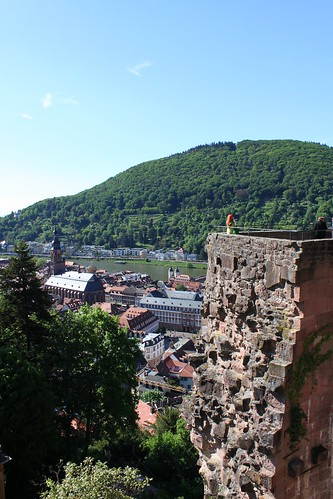 view on tower and old town of Heidelberg Castle