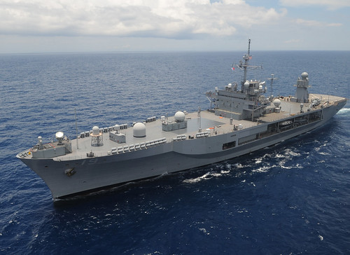 USS Blue Ridge (LCC 19) transits in the Philippine Sea May 28 as it makes its way south on patrol in the U.S. 7th Fleet
