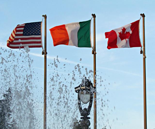The American flag, the Irish flag, & the Canadian flag