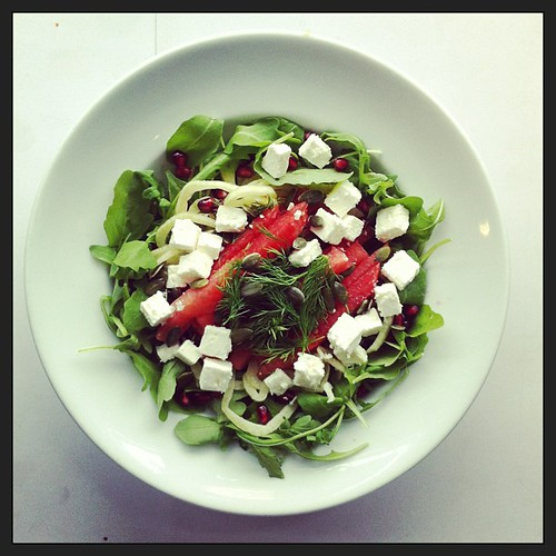 Feta, watermelon, fennel, dill, rocket, arugula, pumpkin seeds, pomegranate #salad #salads #healthnut #foodporn #foodlover #foodshare #foodporndaily #healthyfoods #healthysalad #healthconscious #vegetarian #saladpride #notsaddesklunch by Salad Pride