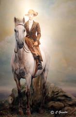 ELSIE REFORD   01-22-1872 / 11-08-1967    HORSEBACK RIDING  PAINTING     LES JARDINS DE M�TIS      REFORD GARDENS     M�TIS    QU�BEC     CANADA