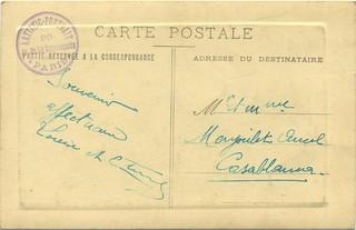 1923, verso de la photo-carte-postale envoyée à Casablanca, Maroc, à M et Mme Menjoulet Ancel