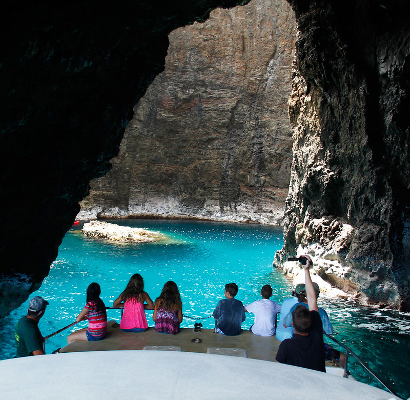 Entering the Open Cave on the Na Pali Coast, Kauai