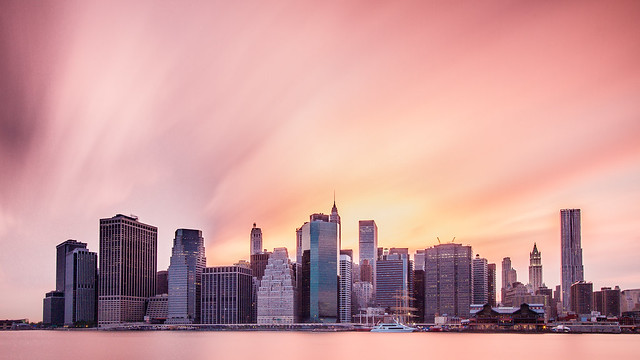 Pink Hues and Bright Lights: Lower Manhattan under a Long Exposure
