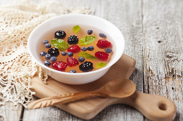 Apricot soup with berries