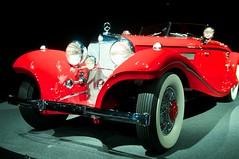automobile, vehicle, red, automotive design, mercedes-benz 500k, auto show, antique car, vintage car, land vehicle, luxury vehicle, sports car, classic,
