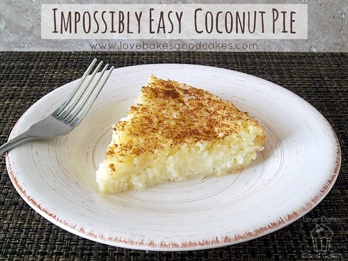 Impossibly Easy Coconut Pie slice on white plate with fork.