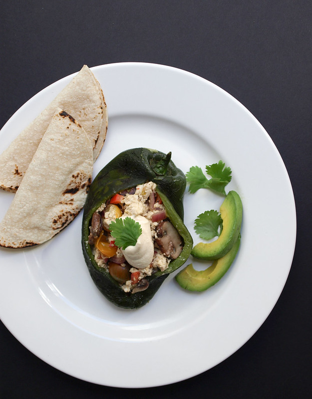 THE SIMPLE VEGANISTA: TOFU SCRAMBLE STUFFED POBLANO PEPPERS