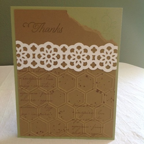 Sample card to go with custom order #Stampinup #lace #laceribbonpunch #hexagon #hexilove