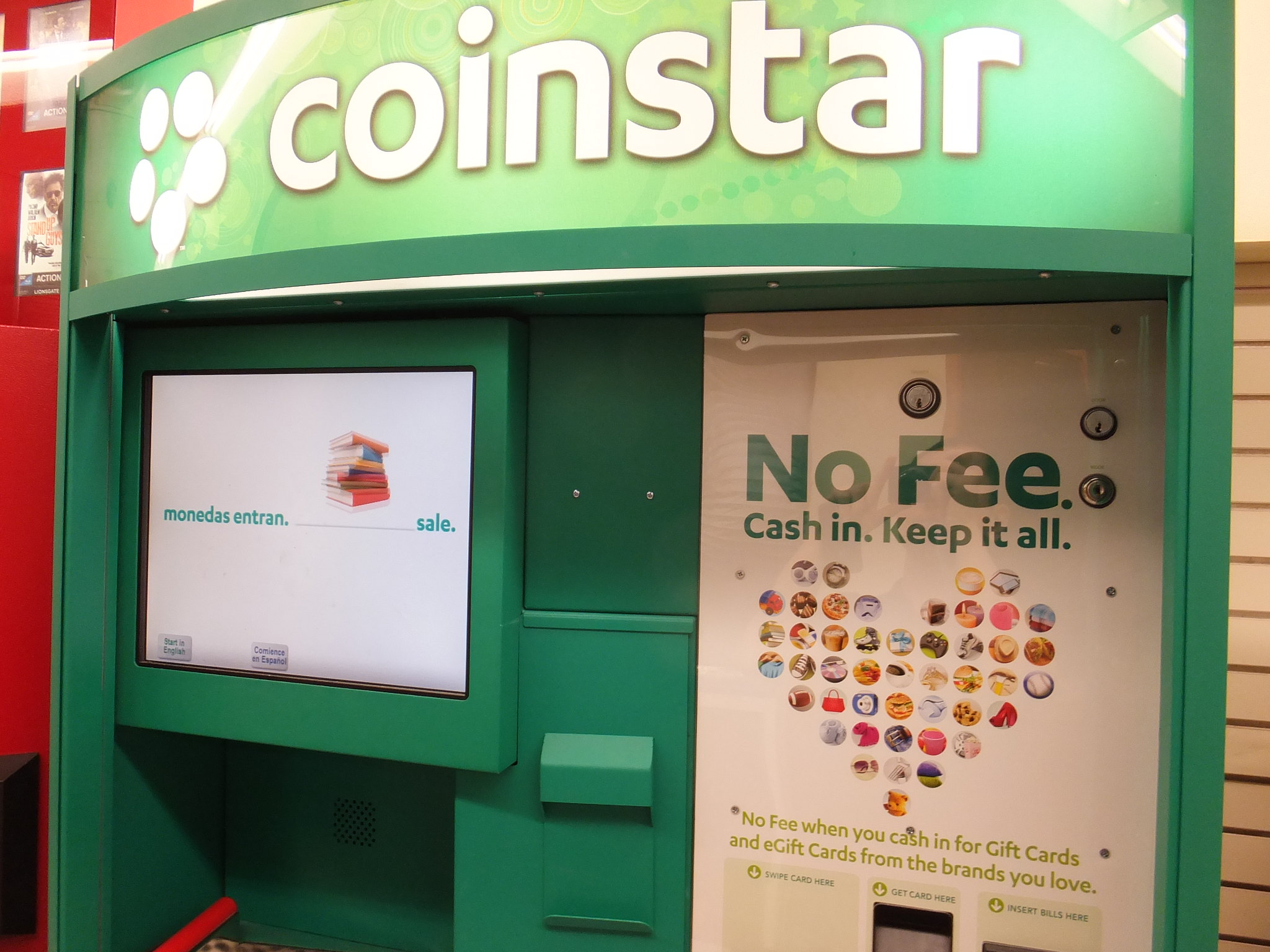 Business. Coinstar is one of the world's largest fully automated networks of self-service kiosks for converting change into cash, e-gift cards or charitable donations.