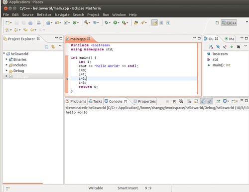 Ubuntu 12.04 Eclipse C++ Project Debug 3