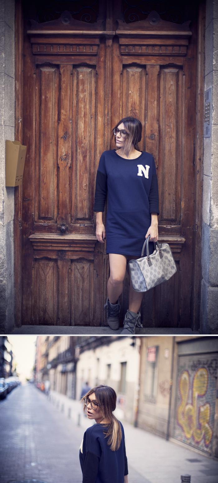 street style barbara crespo university sweatshirt outfit C&A madrid