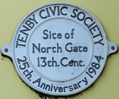 Photo of North Gate, Tenby white plaque