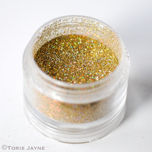 Edible holographic gold glitter