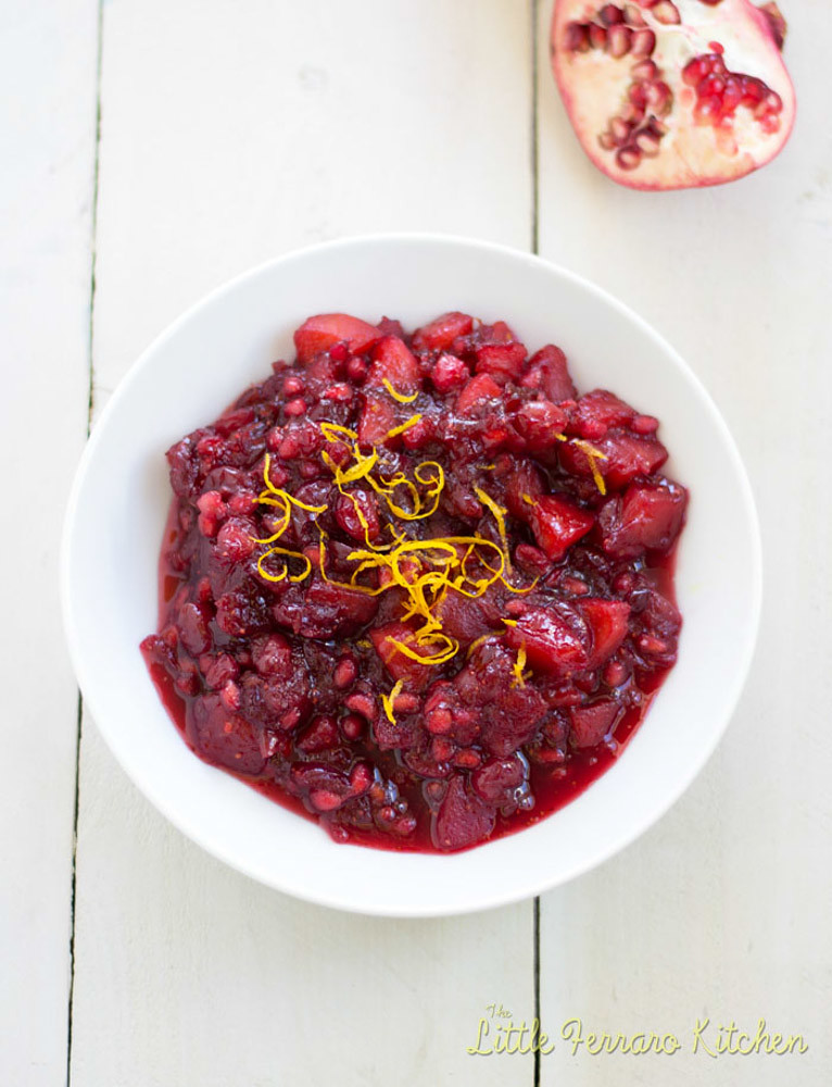 Apple-Pomegranate Cranberry Sauce via LittleFerraroKitchen.com