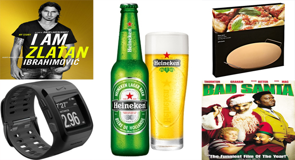 I Am Zlatan Ibrahimovic Paperback, Nike+ SportWatch GPS Powered by Tom Tom, Heineken Lager, John Lewis Pizza Stone and Bad Santa DVD