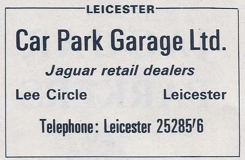1966 CAR PARK GARAGE LEE CIRCLE LEICESTER GARAGE ADVERT