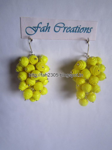 Handmade Jewelry - Paper Bead Grapes Earrings (Yellow) by fah2305