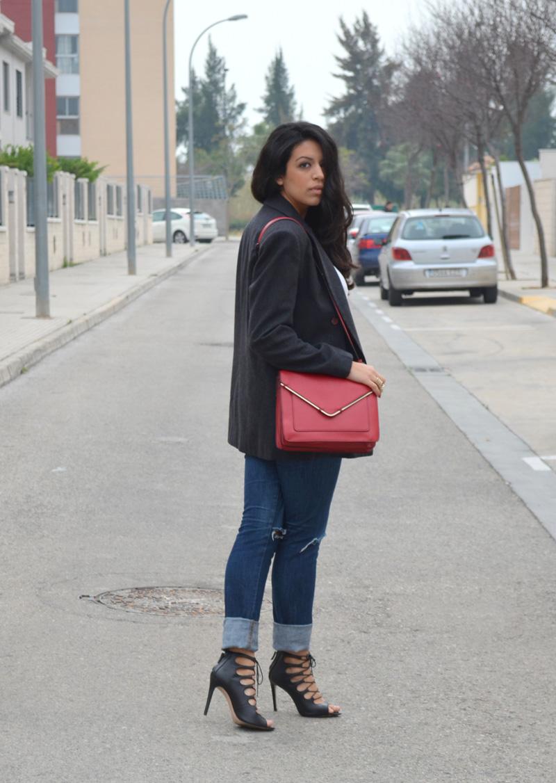 broken jeans red bag
