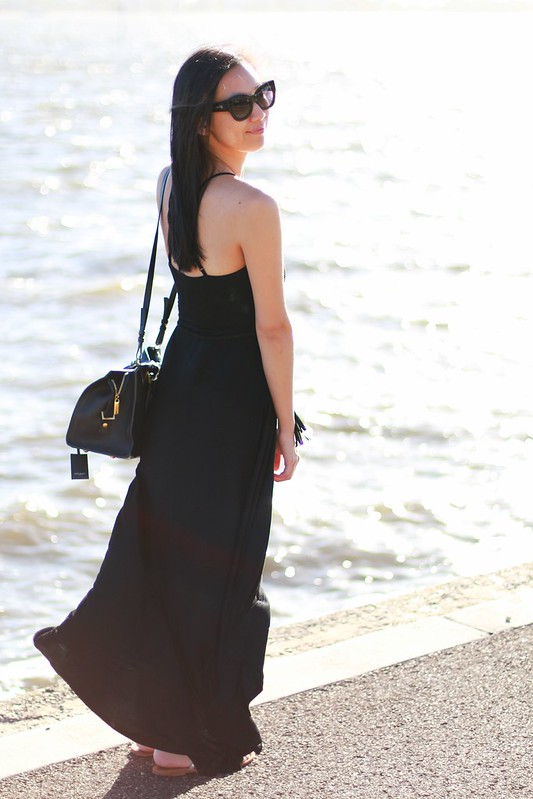 bluejuice black maxi dress split
