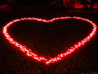 Valentine's Day Heart on Lawn made with Red Christmas String Lights  ...