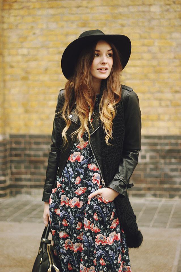 Zara floral dress fedora seventies look