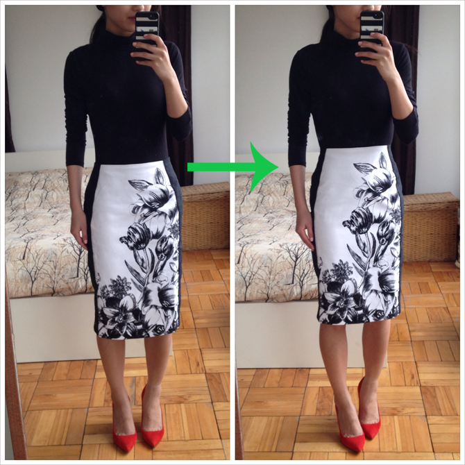 WHBM floral skirt alteration
