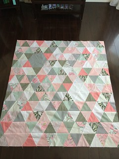 Triangle quilt top all finished! Can't wait to get this one quilted!!