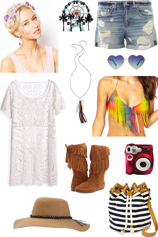 Coachella, music festival, style, fashion, inspiration, boho, fringe, flower child