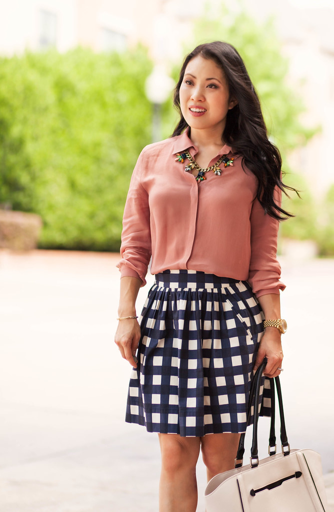 cute & little blog | petite fashion | pink blouse, gingham check skirt, caged sandals, statement necklace | spring outfit