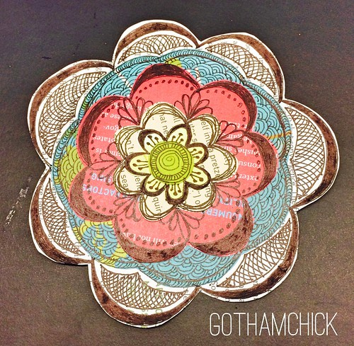 Paperkrafts: doodled paper pieces flowers  - step by step layering FINAL