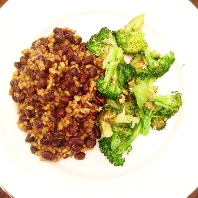 Dinner: black beans, yellow rice (brown), garlicky broccoli. #vegan www.good-good-things.com