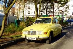 automobile, vehicle, antique car, sedan, vintage car, saab 96, land vehicle, motor vehicle, classic,