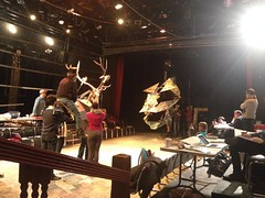 Fri, 2015-01-30 16:22 - WE RIDE! (Or, Hap rides. The Stag. Which is a puppet. OMG Hap's riding a puppet Iron Stag!) Thanks to ASM Rachael Koplin for the pic.