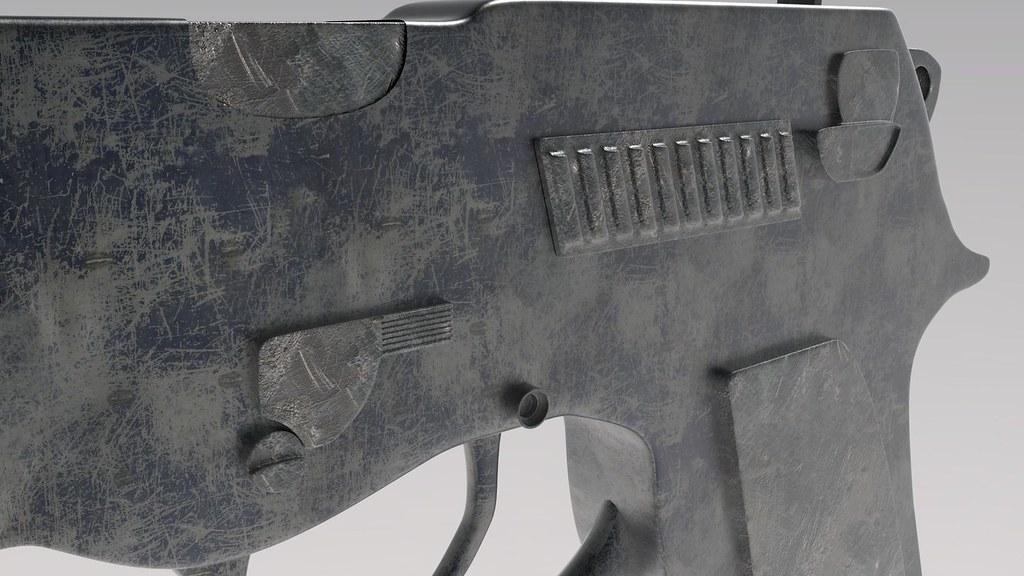 Custom Handgun Textured 3d Model