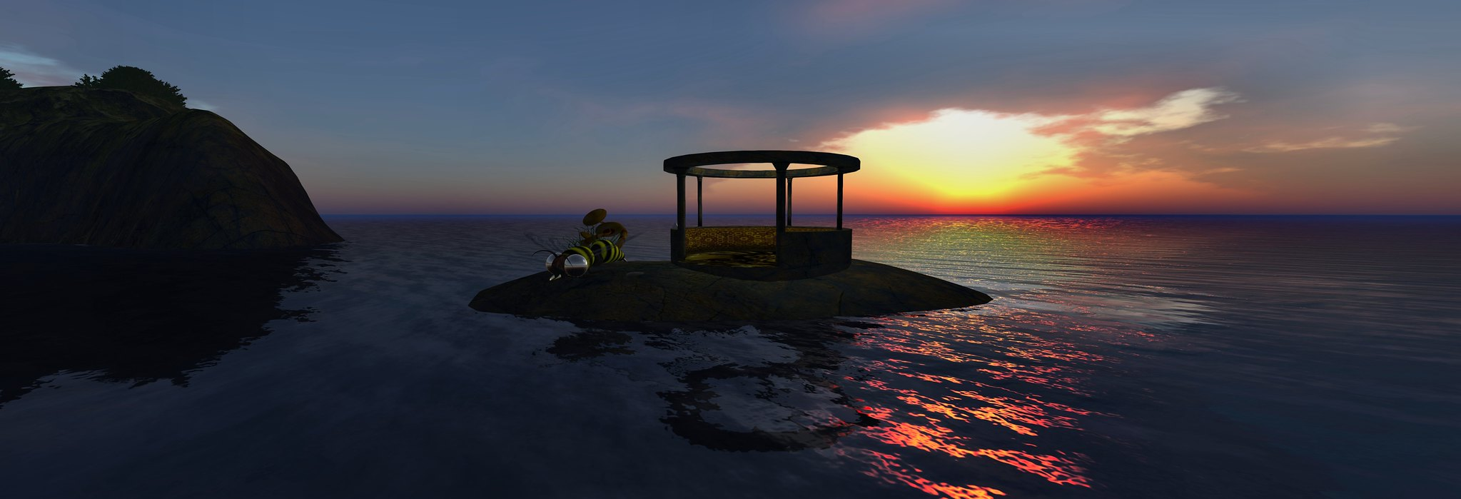 Sunrise at Svarga's landing point and tour station