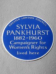 Photo of Sylvia Pankhurst blue plaque