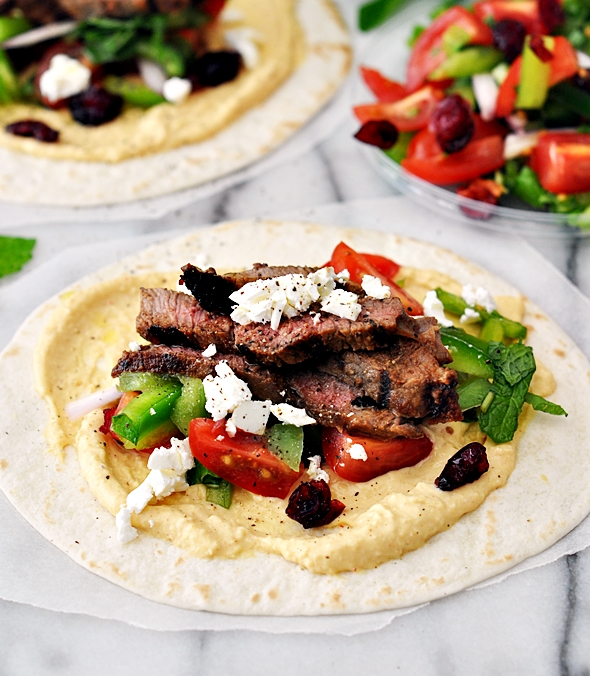 Grilled Cranberry-Glazed Lamb Soft Taco with Hommus, Feta & Tomato-Capsicum-Mint Salsa | www.fussfreecooking.com