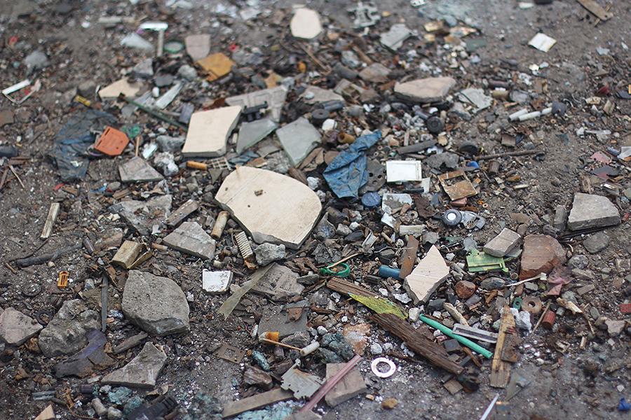 Trash-and-broken-tiles