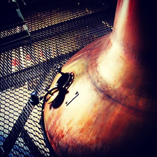 No. 1 Wash Still at Cardhu Distillery having an air rest. #lovescotch #singlemalt #scotch #whisky #cardhu #distillery #behindthescenes #dram #copper #stills #potstill