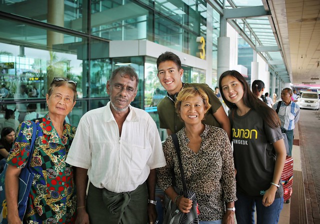 Saying goodbye to our friendly taxi driver at Yangon Airport