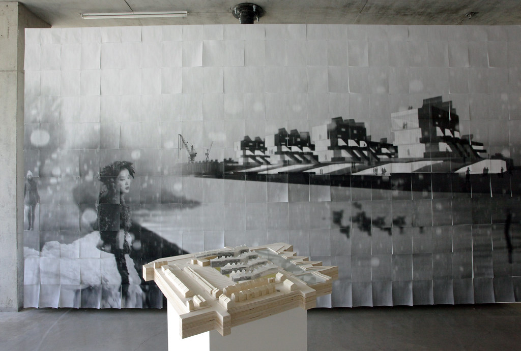 A view of the Milstein Gallery exhibition Natural Selection, showing  <em>Counterspace</em>, CODA entry to the 2011 competition Europan 11. The project was done in collaboration with Leslie Mignin.