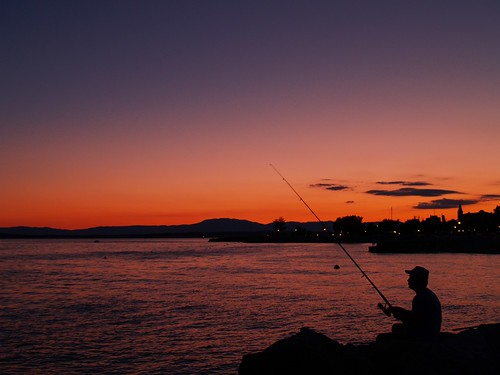 sunset sea meer sonnenuntergang croatia fisher kroatien crikvenica