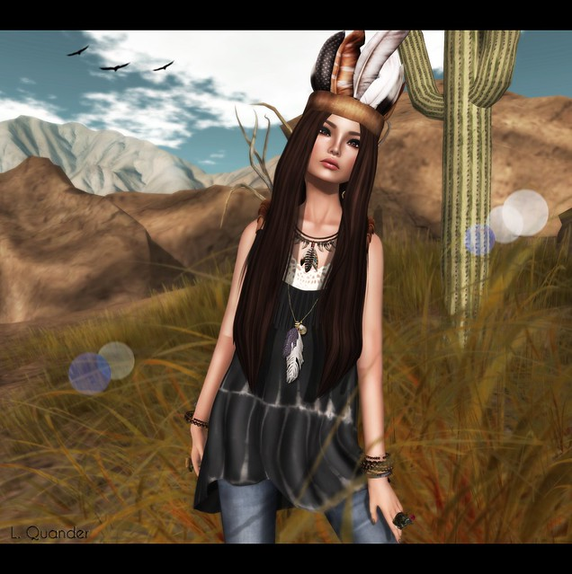 Tee*fy Aurelia Summer High-Low Dress Black Tie Dye &  Feather Crown Headband RARE for The Arcade and Leverocci - Diva_Golden Brown