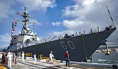 In this file photo, USS Paul Hamilton (DDG 60) returns home from a previous deployment. (U.S. Navy/MC3 Diana Quinlan)