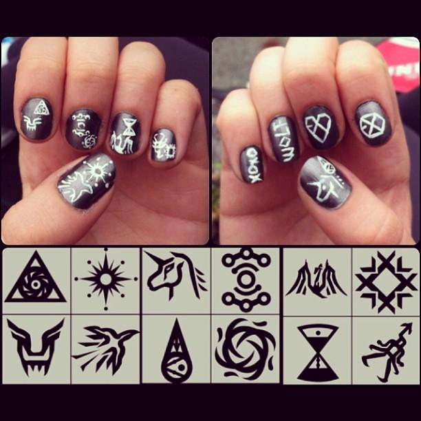 exo wolf inspired nail art exo exok exom xoxo wol