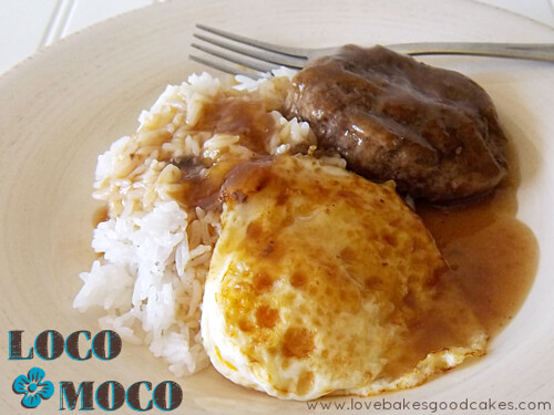 Hawaiian Loco Moco on plate and fork.