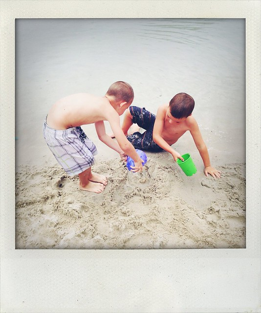 Making sandcastles at the lagoon.