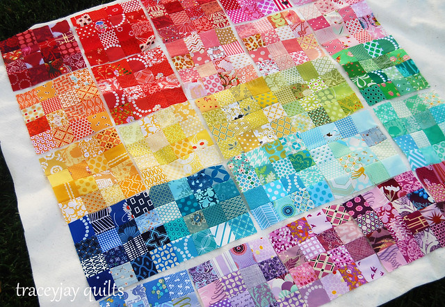 Rainbow patchwork blocks