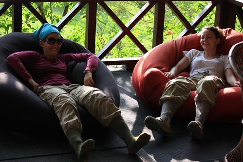 attempting to relax after the jungle trek